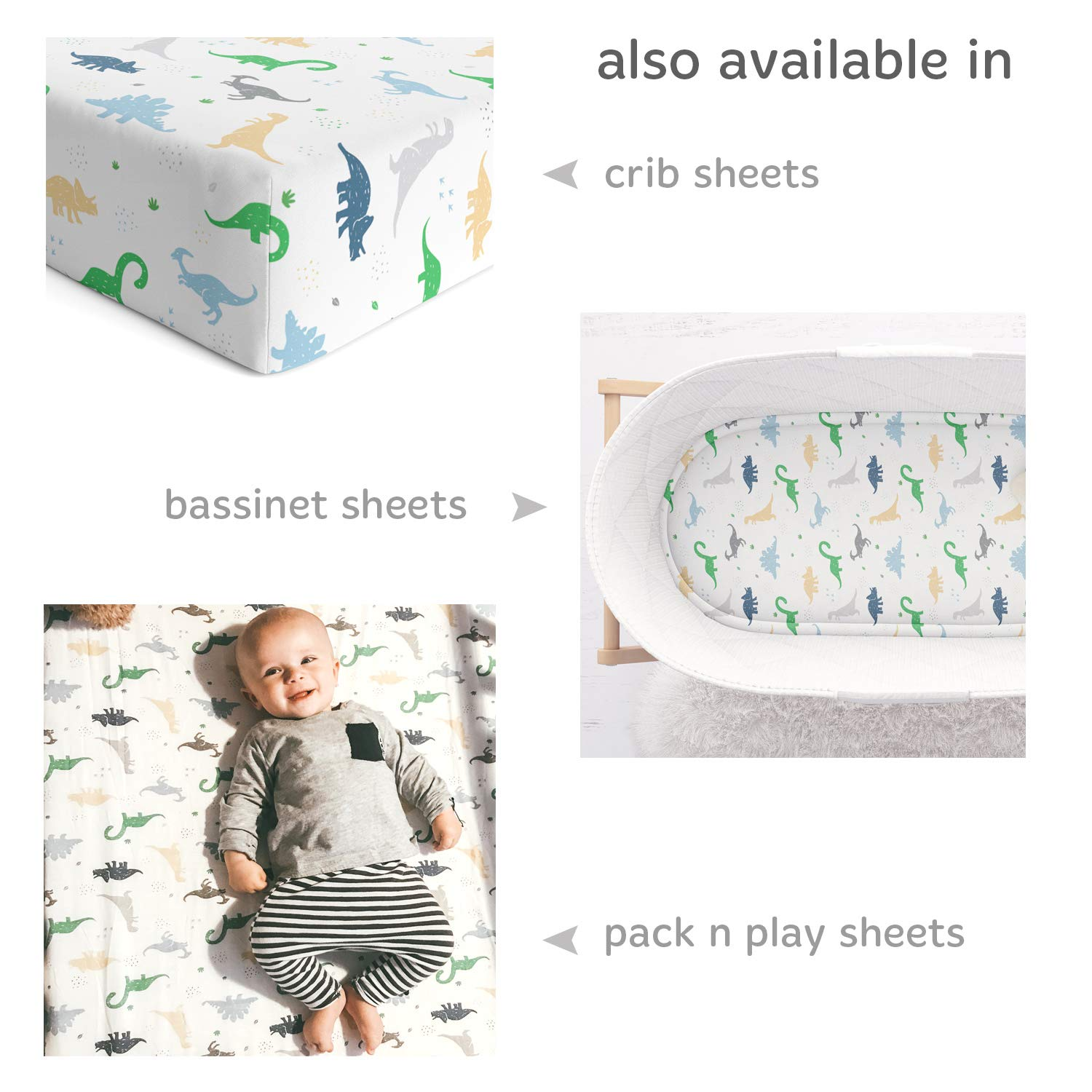 Fitted Sheets for Chicco Lullago Halo Bassinet Arms Reach Versatile and Other Oval Rectangle Basinette Natural Jersey Cotton Cuddly Cubs Dinosaur Bassinet Sheets Ultra Soft