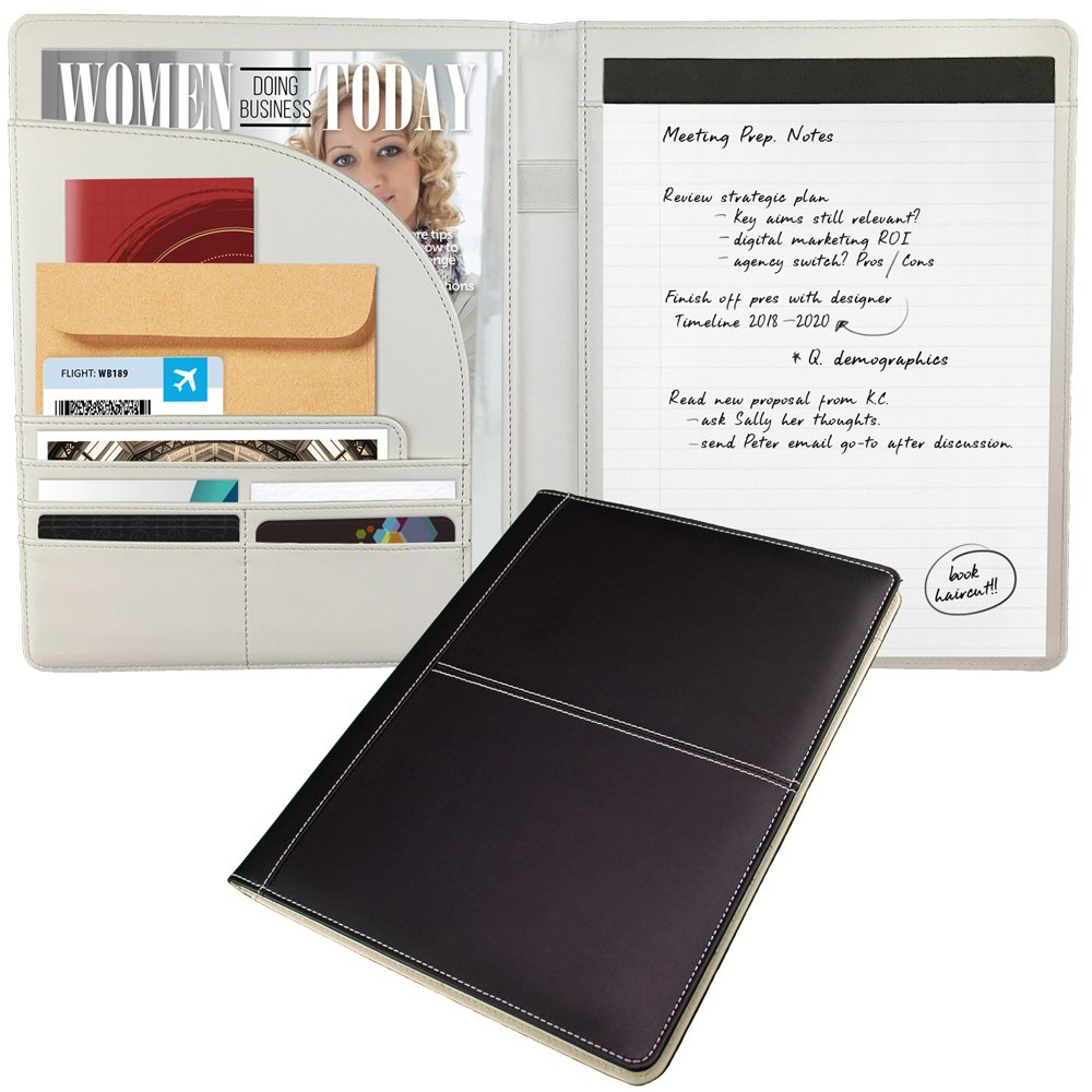 Classic Business Padfolio/Portfolio for Women by essigne - Black & Ivory Notepad Holder + Feature Stitching - The Essential Document Folder for Women - Professional, Confident and Ready to Do Business