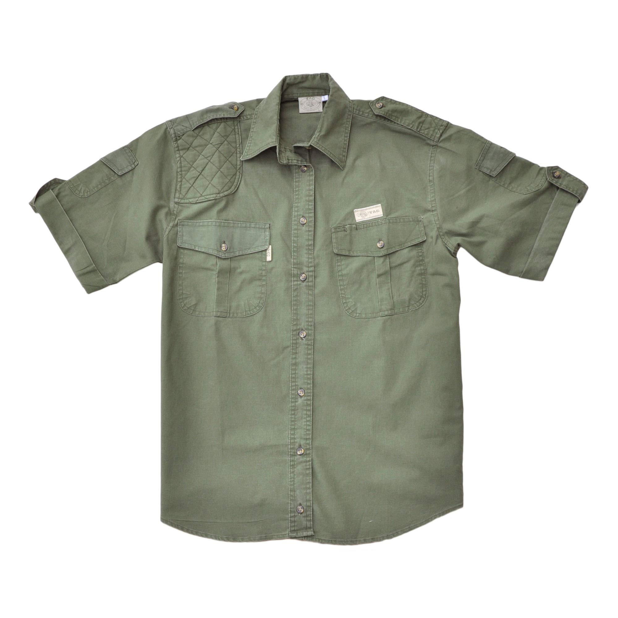 Tag Safari Shooter Shirt for Women Short Sleeve, 100% Cotton for Hunters Outdoor Activities by Tag Safari