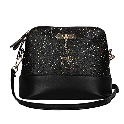 73b6f97c49 Women s Leather Crossbody Bag Sequins Small Deer Shoulder Bags Splice Messenger  Bag Tote Bag Handbags Shoulder