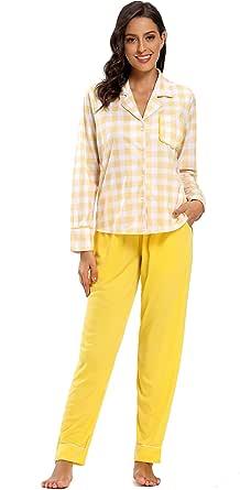 SHEKINI Pijamas para Mujer Algodon con Cierre Mediante Botones y Bolsillo Delantero Estilo Casual para Invierno: Amazon.es: Ropa y accesorios