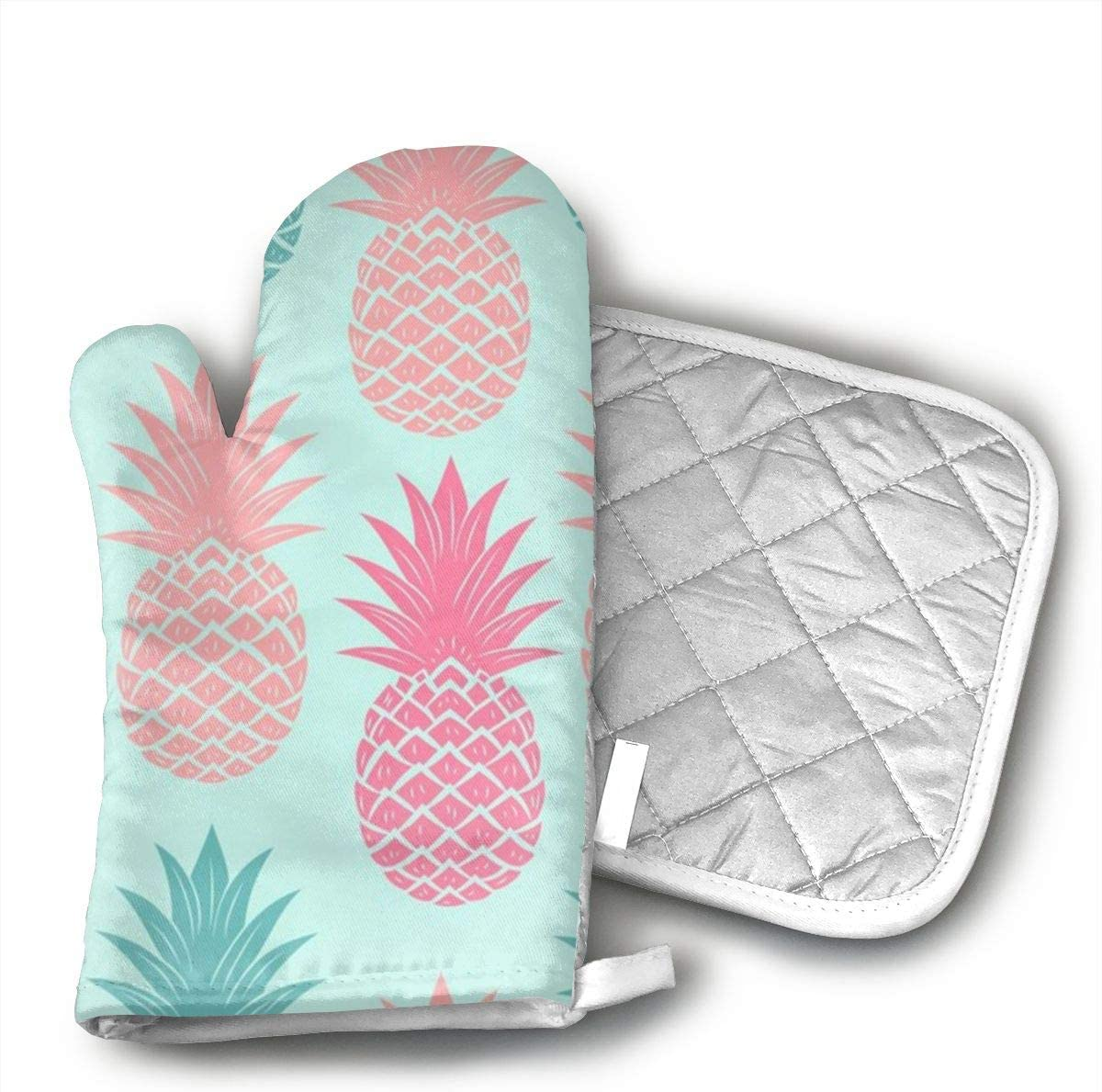 Wiqo9 Colored Pineapples Oven Mitts and Pot Holders Kitchen Mitten Cooking Gloves,Cooking, Baking, BBQ.