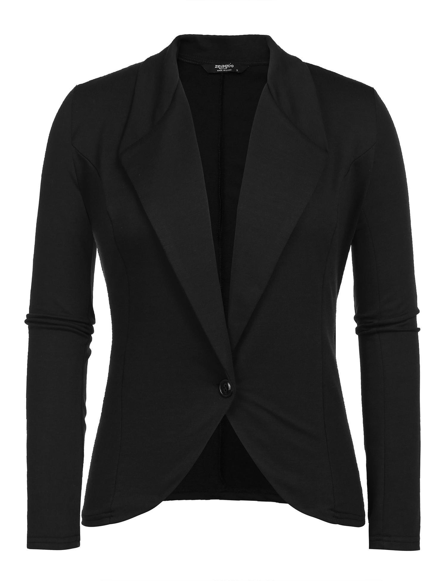 Grabsa Women Knit Casual Open Front Draped Lapel Work Office Blazer Jacket
