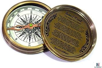 Lot of 10 Vintage Antique Brass Robert Frost Poem Compass Navigation Instrument
