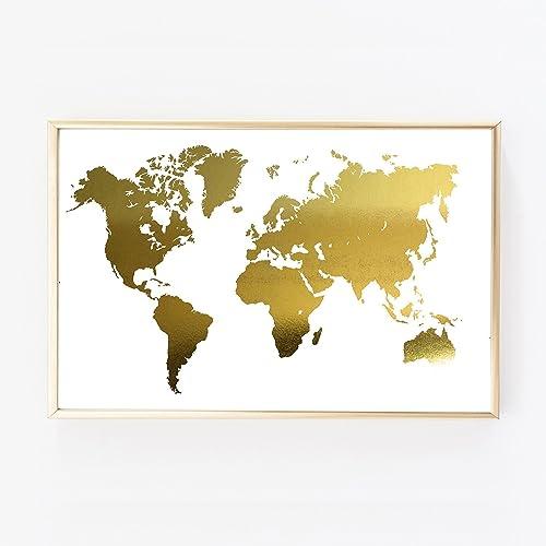 Amazon Com Gold Foil Print World Map Us Adventure Wall Art Poster