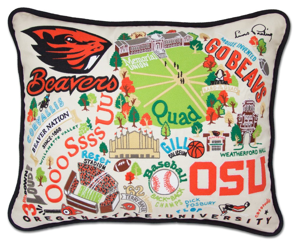 OREGON STATE UNIVERSITY COLLEGIATE EMBROIDERED PILLOW - CATSTUDIO by 817219020121