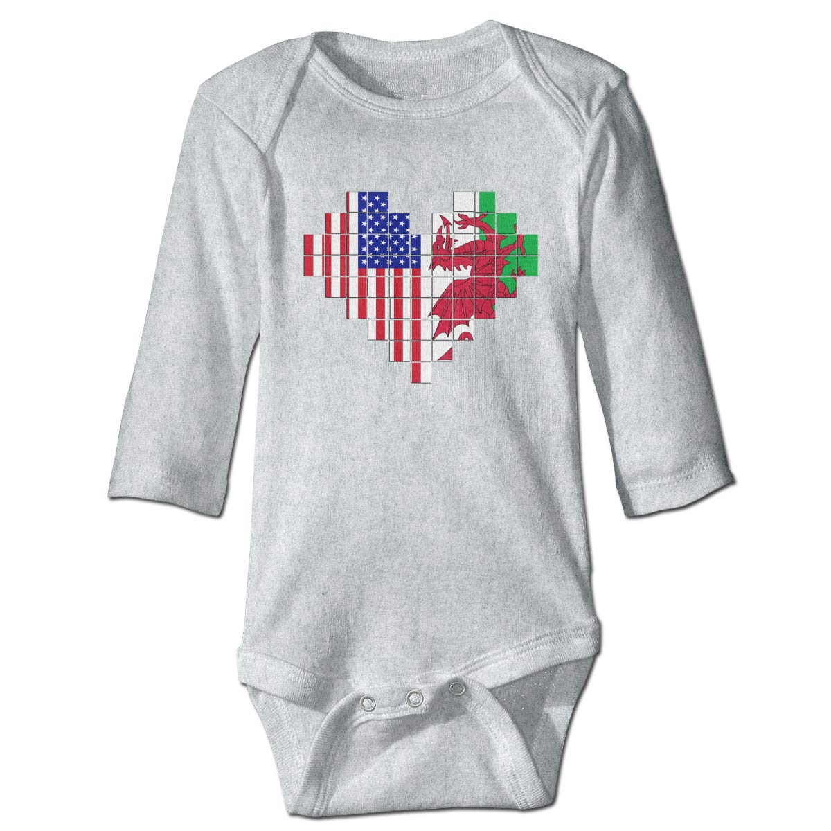 A14UBP Baby Infant Toddler Long Sleeve Climb Jumpsuit American Flag Welsh Flag Puzzle Heart Playsuit Outfit Clothes