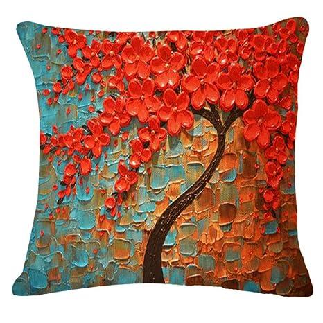 YIWAN Cojín Pintura al óleo Retro Color árbol impresión ...
