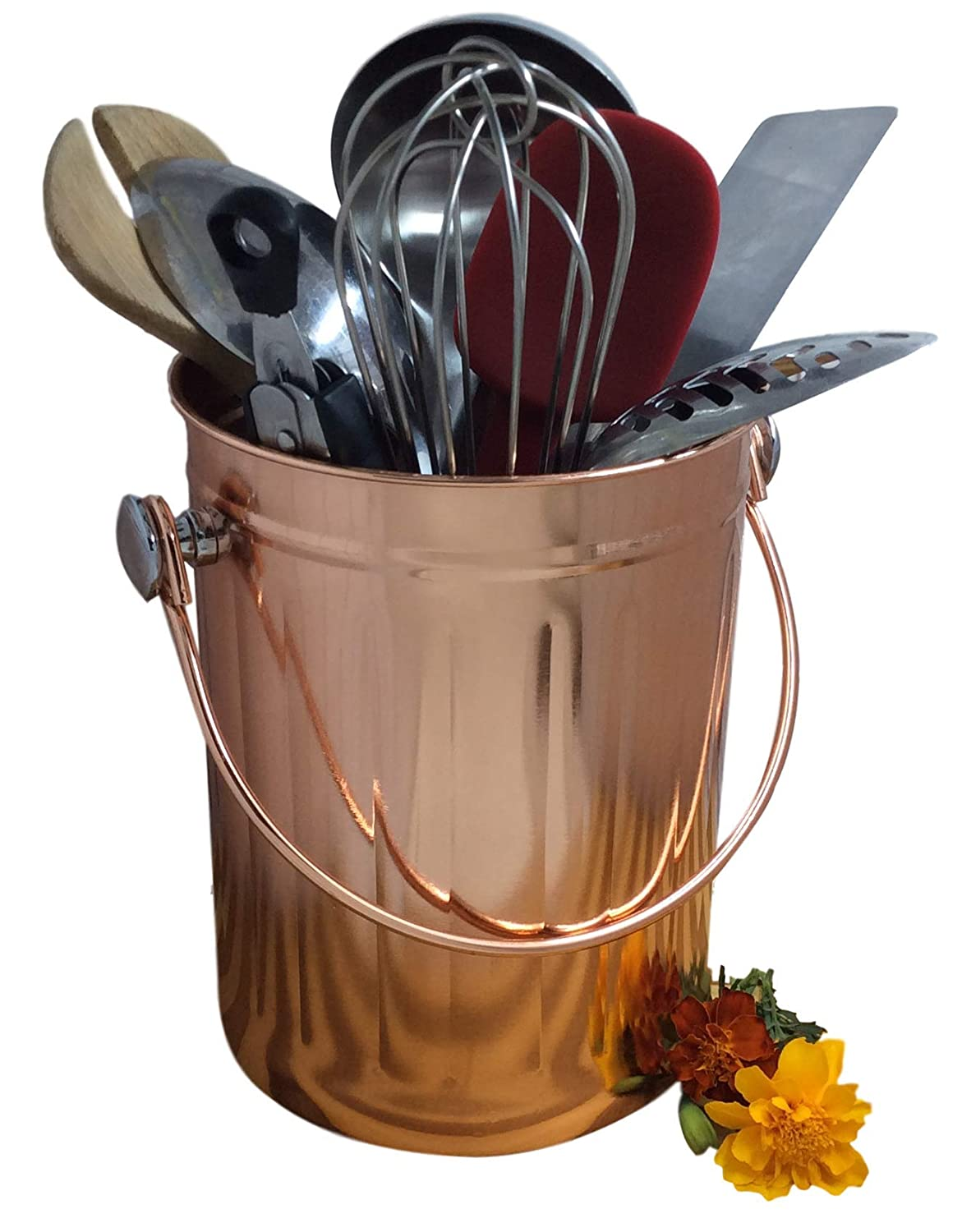 Utensil Holder Caddy Crock to Organize Kitchen Tools - Copper Kitchen Accessories - Large 1 Gallon Capacity by Goldsol Brands Copper-Pail