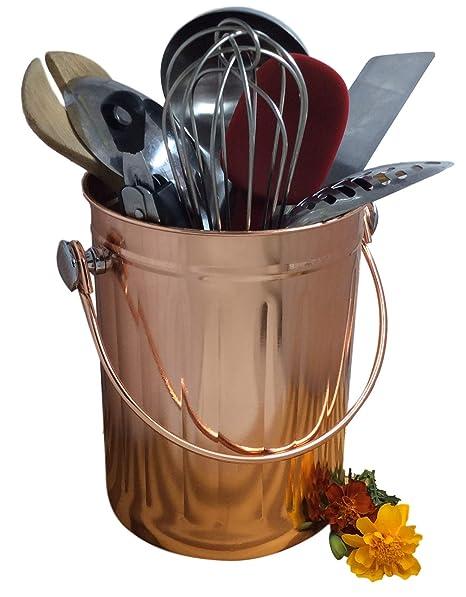 Kitchen Gadget Holder Utensil Caddy Crock Bucket to Organize Kitchen Tools  - Copper Kitchen Accessories Accent – Large 1 Gallon Capacity