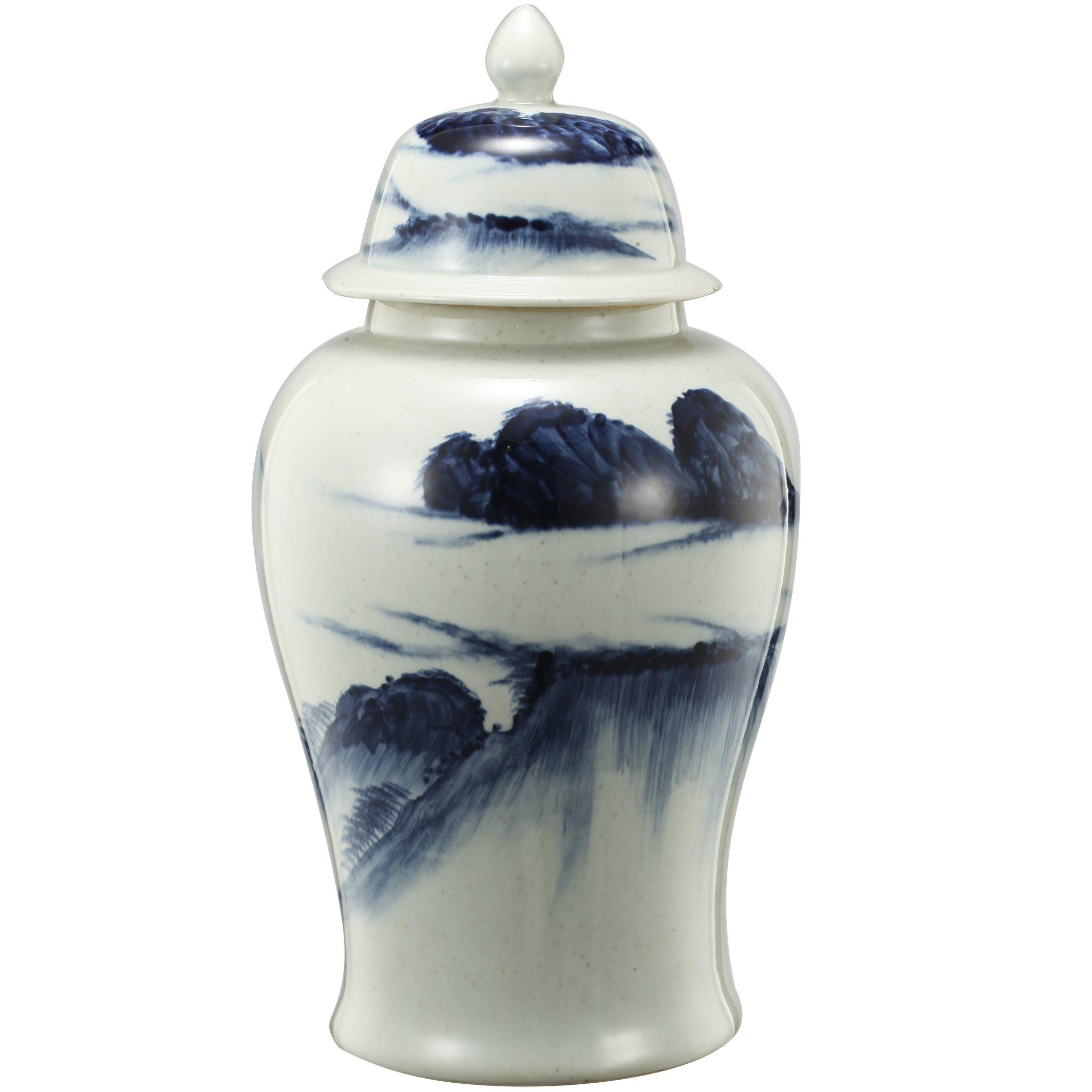 Benjara Benzara BM180954 Ceramic Windswept Ginger Jar, White and Blue,