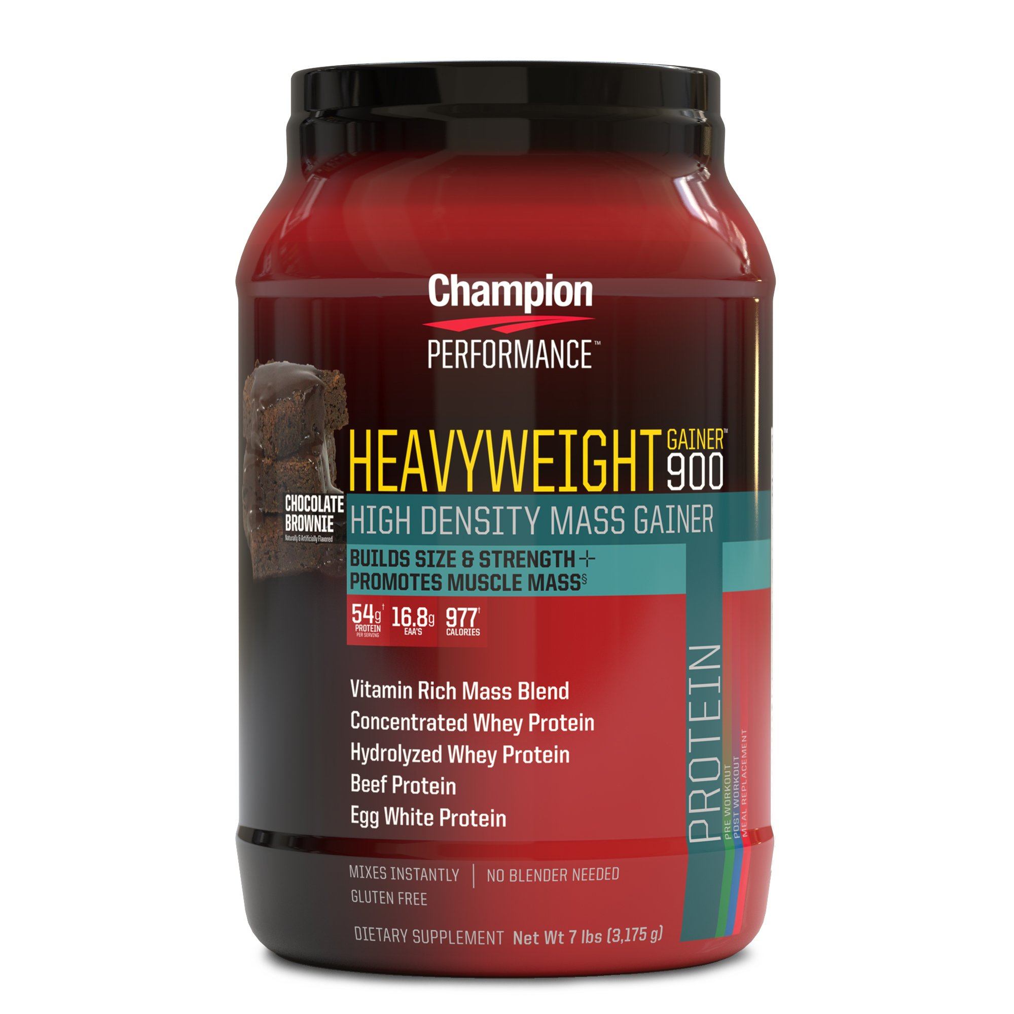 Champion Performance - Heavyweight Gainer 900 Protein Powder - Chocolate Brownie - High Density Mass Gainer Sports Supplement, Builds Muscle Mass, Size, and Strength - 7 lbs