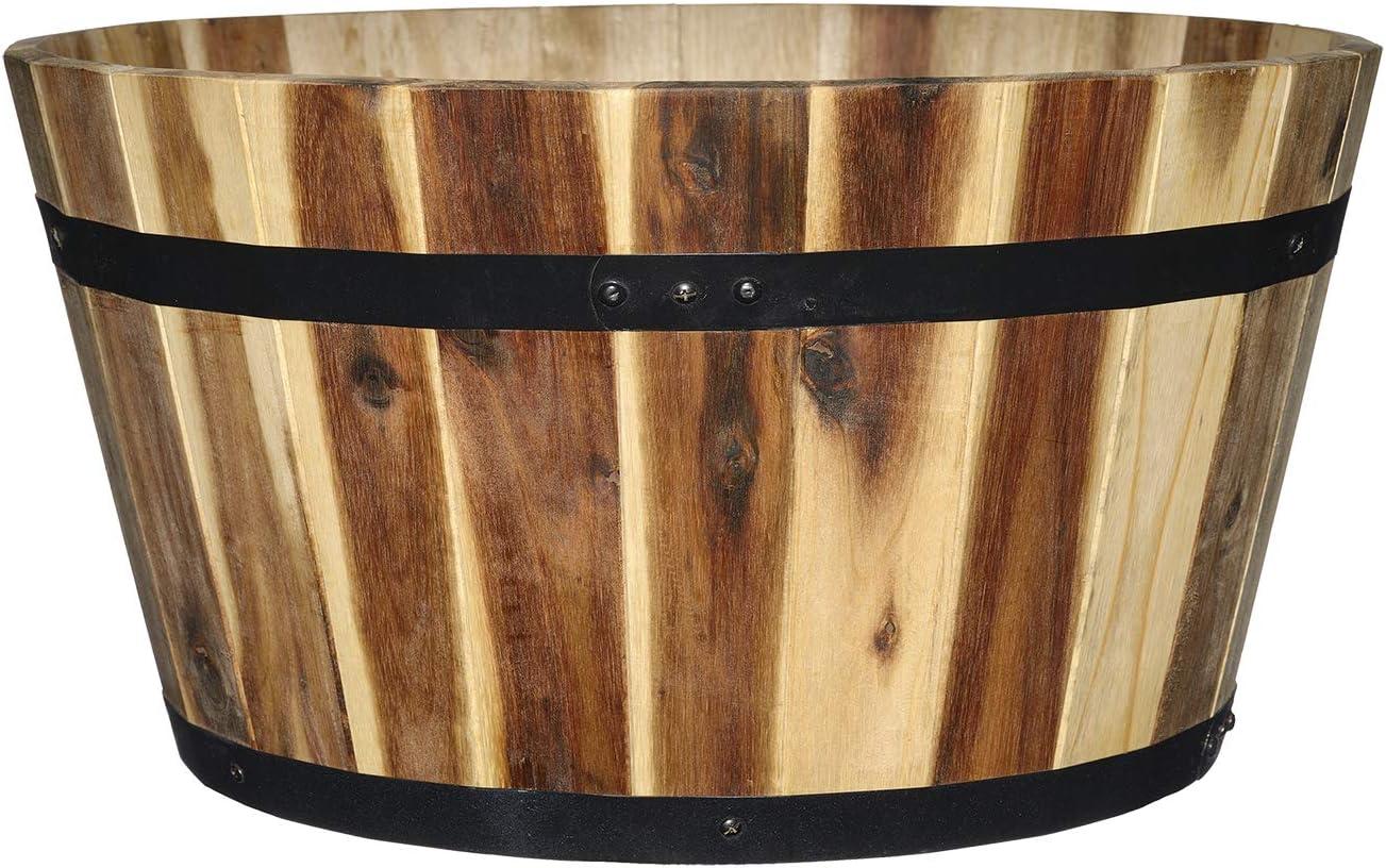 """Classic Home and Garden 110024-2 21"""" Whiskey Barrel Planter, Acacia"""