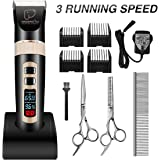 Focuspet Pet Grooming Clippers, Dog Clippers LED Screen Rechargeable Cordless 3 Running Speed Dog Grooming Clippers Kit Low Noise Electric Hair Trimming Clippers Set For Small Medium Large Dogs Cats