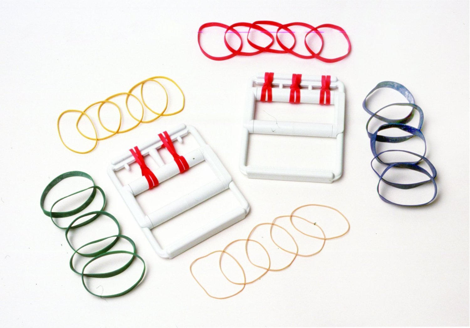 Cando Rubber Band Hand Exerciser - with 25 bands (5 each color) Latex-Free - 50 Sets