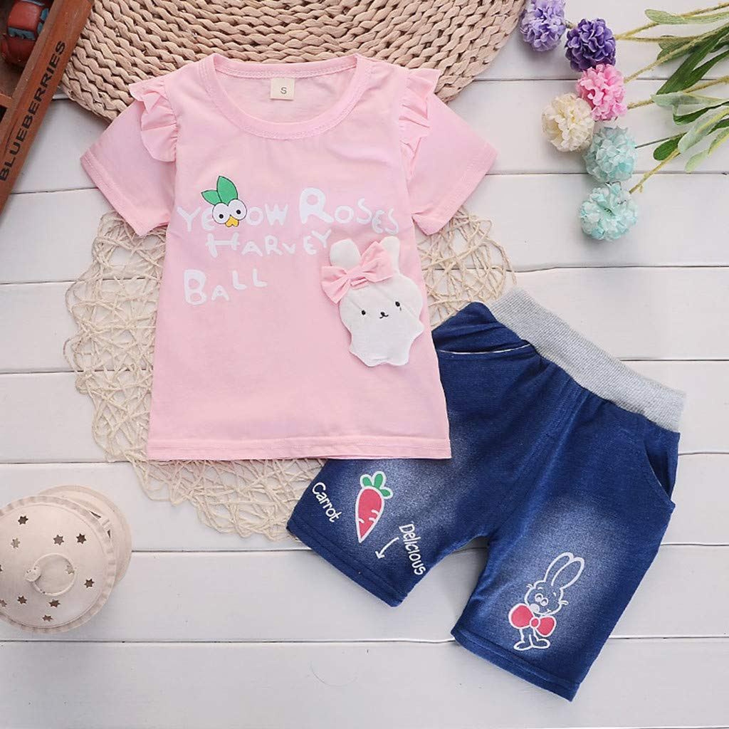 Sunsuit Baby Girl,Toddler Baby Girls Short Sleeve Cartoon Rabbit Print Tops+Denim Shorts Outfits,Girls Underwear,Pink,S//80