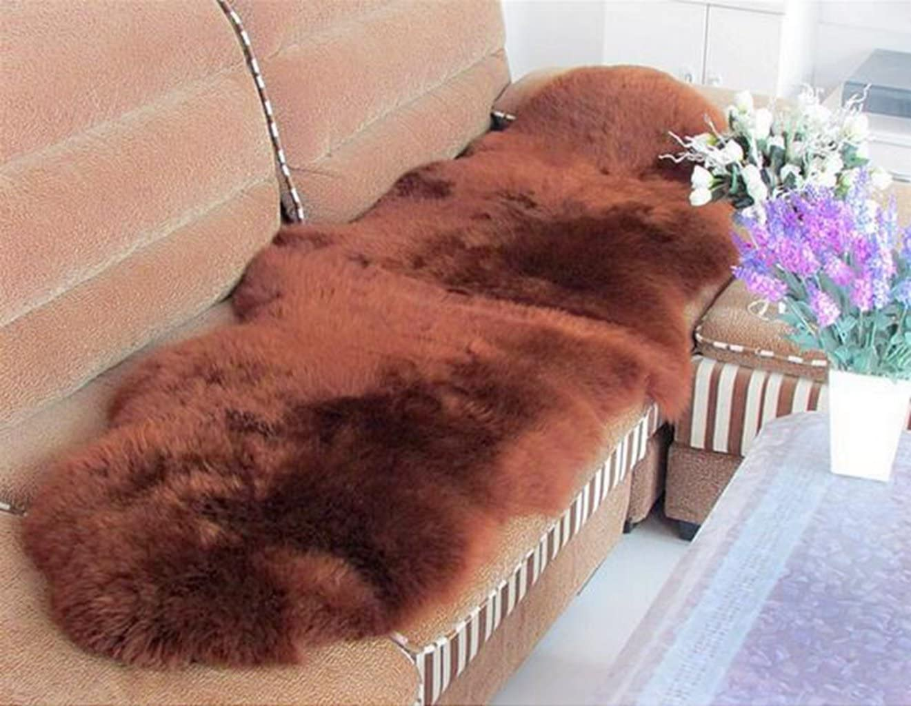 Prettybuy Genuine Australian Sheepskin Rug One Pelt Black Natural Fur, Single, Approx. 2ft. x 3ft.Coffee