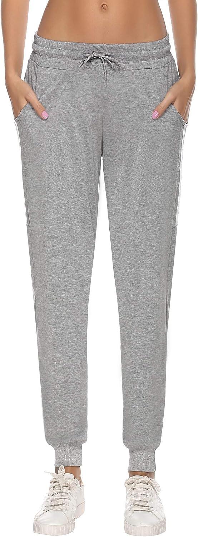 Aibrou Pantalones Ch/ándal Raya Mujer Algod/ón Largos Pantalon para Deportivo Yoga Fitness Jogger Casual