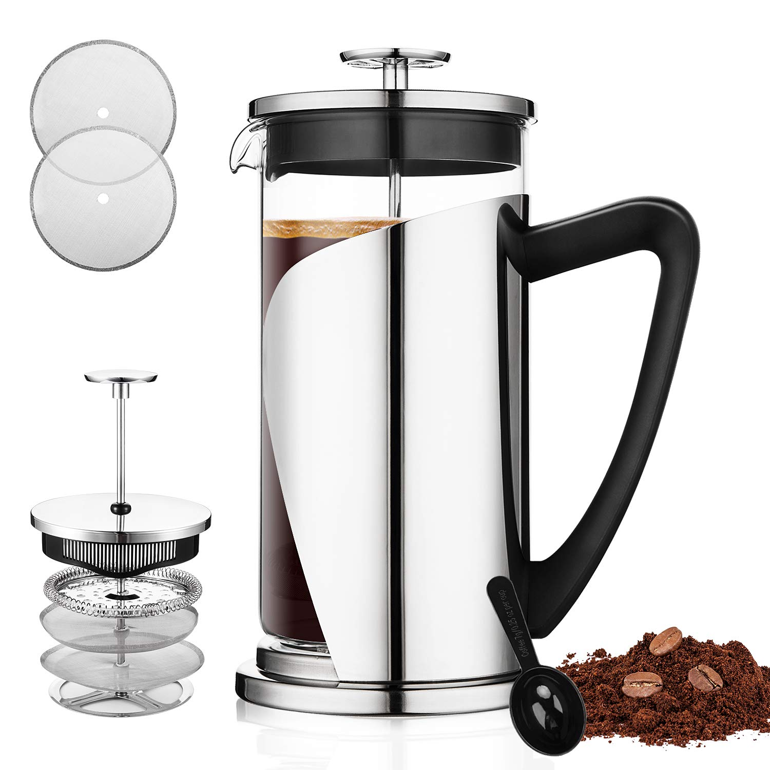 French Press Coffee Maker, Bebeke 34oz Coffee and Tea Makers with 4 Level Filtration System, FDA Approved, BPA Free, Heat Resistant Borosilicate Glass Coffeepot, 304 Grade Stainless Steel French Press