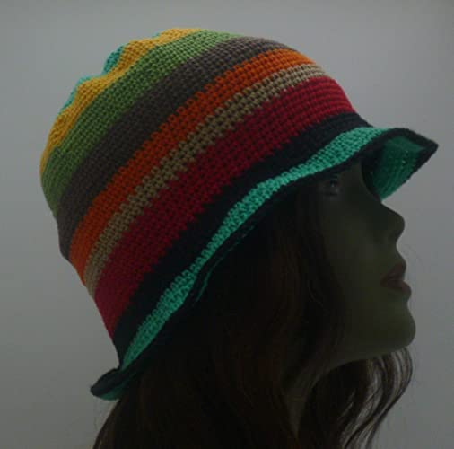 2ba73102dc3 Image Unavailable. Image not available for. Color  Spring Summer Sun Hat  Crochet Cloche With Brim Red Yellow Green Turquoise Orange Black Brown