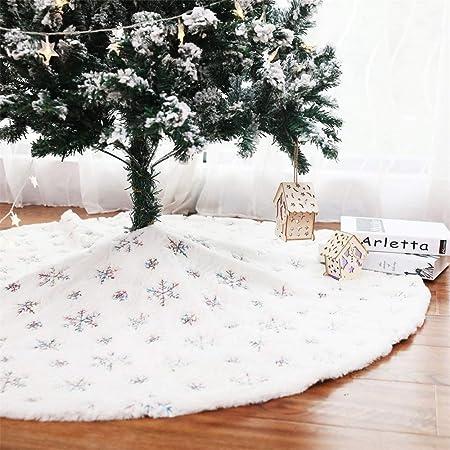 LiangDa Navidad Falda del árbol Lentejuelas Blanco Ornamentos del ...