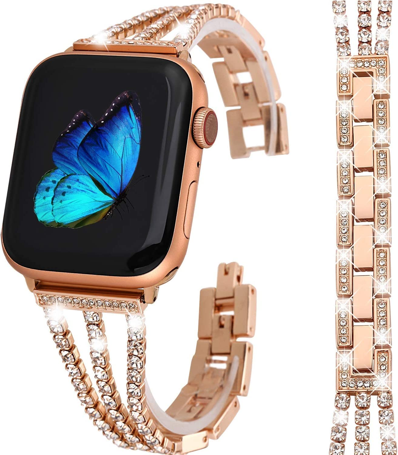 Greaciary Bling Band Compatible for Apple Watch Band 38mm/40mm Rose Gold Jewelry Replacement Metal Wristband Strap Women Girls compatible for iWatch Series 5/4/3/2/1 RG