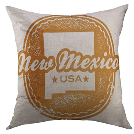 Mugod Decorative Throw Pillow Cover For Couch SofaMap Vintage Style New Mexico Usa State Stamp Seal Albuquerque Home Decor Case 18x18 Inch