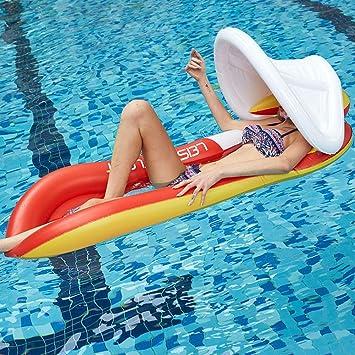 Amazon.com: YUWJ Flotadores inflables para piscina con toldo ...