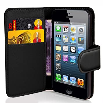 new styles afe03 38594 Apple iPhone 4 / 4S Black Wallet Case Cover Includes Screen Protector,  Touch Screen Stylus And Polishing Cloth