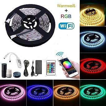 RGBWW Tira LED 5 Metros Kit Completo - Tiras LED Funciona con Alexa, Google Home, IFTTT, WiFi Teléfono Inteligente Inalámbrica Luces LED Kit: Amazon.es: Iluminación