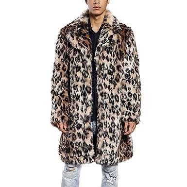 be18e4898947 JTENGYAO Men s Faux Fur Coat Long Overcoat Lapel Leopard Outerwear Winter  Jacket