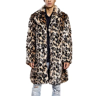 02b7b7715d69 Amazon.com: JTENGYAO Men's Faux Fur Coat Long Overcoat Lapel Leopard  Outerwear Winter Jacket: Clothing
