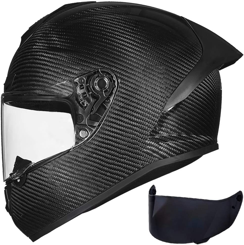 ILM Motorcycle Bike Helmet Full Face Carbon Fiber Shell for Men Women DOT Approved