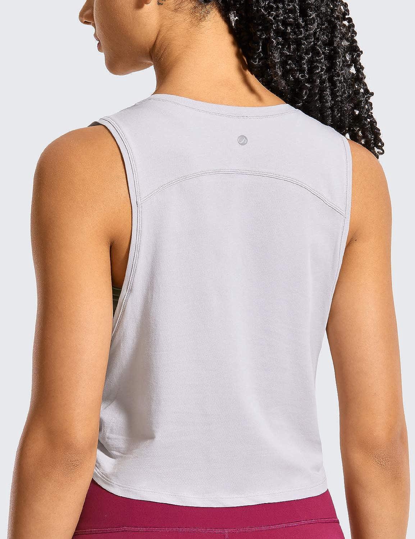 CRZ YOGA Mujer Crop Top Camiseta Sin Mangas de Fitness Ropa Deportiva Cuello Redondo