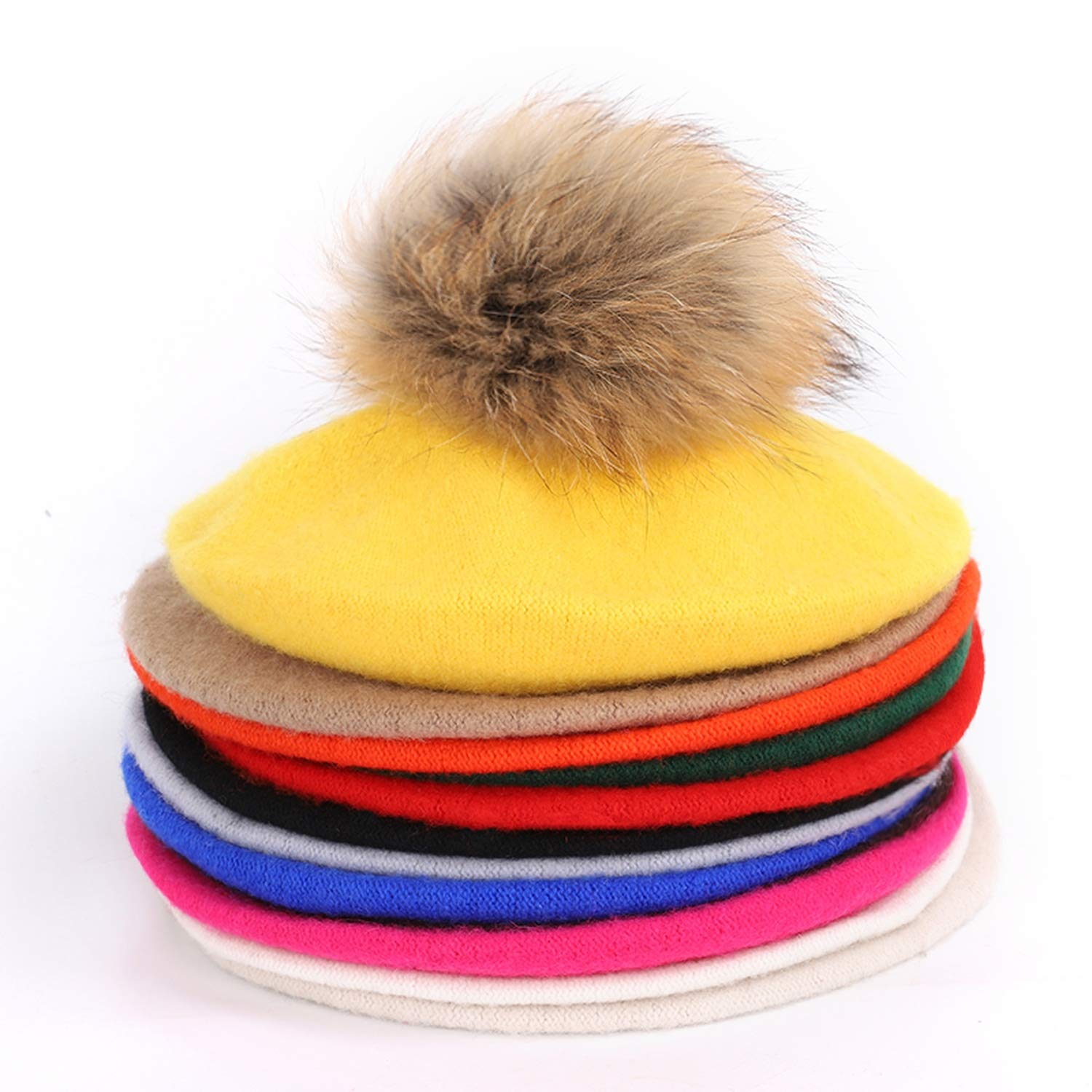 08f5473a62f213 Accessories Painter Beret Outdoor Autumn Winter Knit caps Solid Raccoon Fur  pom-pom Vintage Beret,Red1
