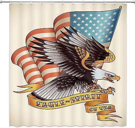 Hooks 70x70 American Bird Bald Eagle Shower Curtain Fabric w