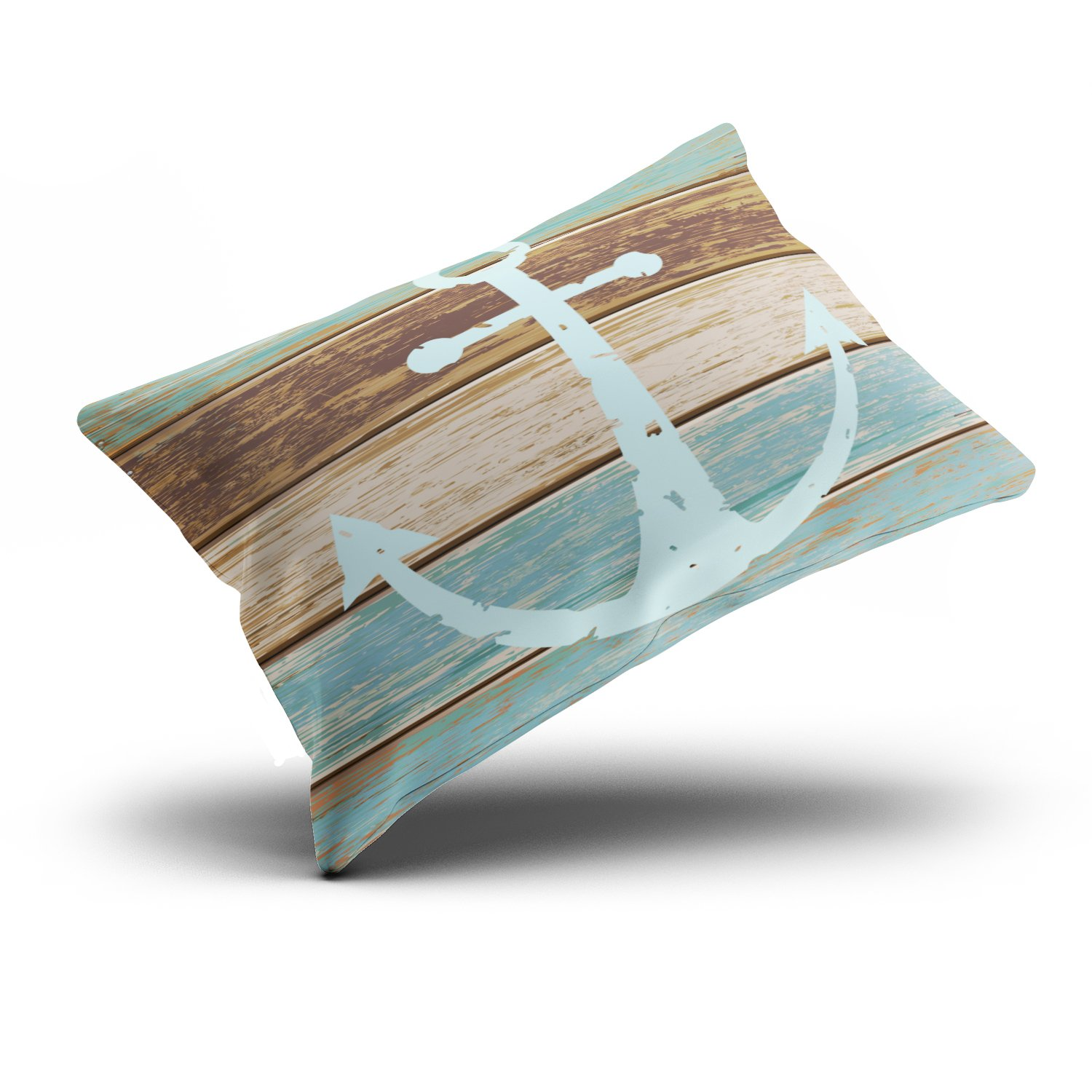 Fanaing Bedroom Custom D¨¦cor Nautical Anchor Weathered Wood Coastal Themed Pillowcase Soft Zippered Brown Aqua Mint and Turquoise Pillow Case Fashion Design One-Side Printed Standard 20x26 Inches by Fanaing (Image #3)