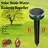 Drillpro 1Piece Solar Mole Repeller,Ultrasonic Rat Mouse Repellent Deterrent Spike For Garden Yard Field Farm Glassland With Sonic Wave Device,(Range: 650 square meters,Solar Panel:4V/45MA,70x90mm) Green