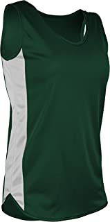 product image for TR-980W-CB Women's Athletic Lightweight Single Ply Track Singlet with Side Panels (Medium, Forest/White)