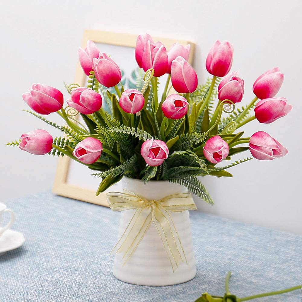 Artificial Beige and Yellow Tulip Flowers with Ceramic Vase