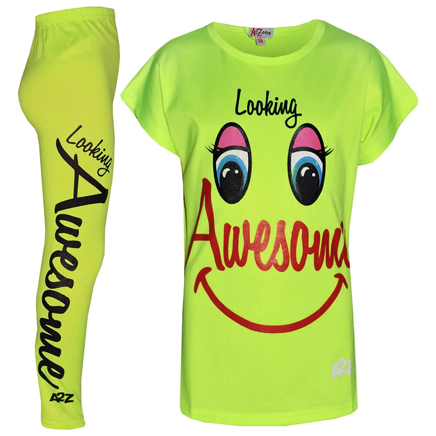 A2Z 4 Kids® Girls Top Kids Looking Awesome Print Trendy T Shirt Tops & Fashion Legging Set Age 5 6 7 8 9 10 11 12 13 Years