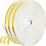 White Weather Stripping 49.5 Feet, 1/4 Inch Wide X 1/8 Inch Thick, Window Seal High Density Foam Sealing Strip Adhesive Foam
