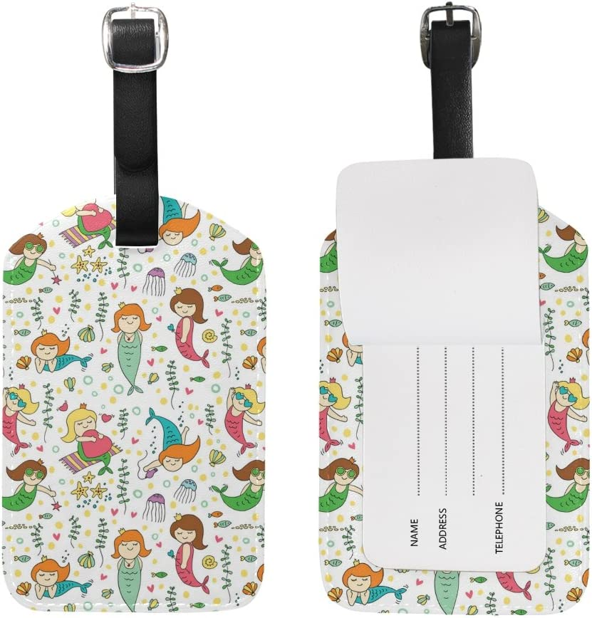 Chen Miranda Cute Mermaids Luggage Tag PU Leather Travel Suitcase Label ID Tag Baggage claim tag for Trolley case Kids Bag 1 Piece