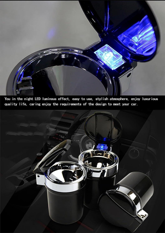 Panegy Car Ashtray Smokeless Vehicle Cigar Portable Ashtray Cup Holder with LED Blue Light