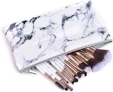 Makeup Brush 12pcs Marble White, Professional Makeup Brush Set with Cosmetic Bag