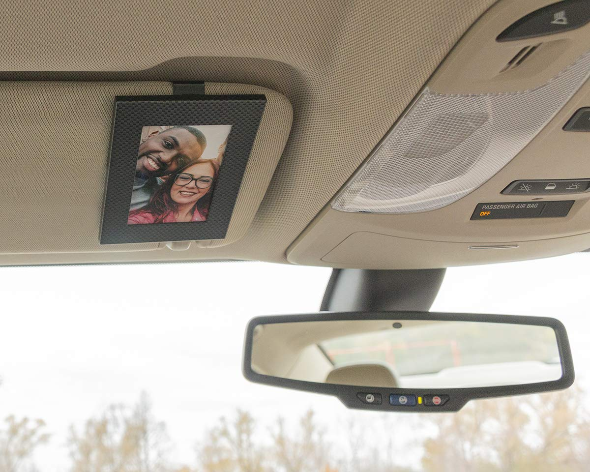 | Rotating Clip Allows for Landscape or Portrait Position Wood Grain 2.5 x 3.5 Clips to Car Sun Visor Protects Pictures from Sun Damage VISOR FRAMES Fits Standard Wallet Size Photo