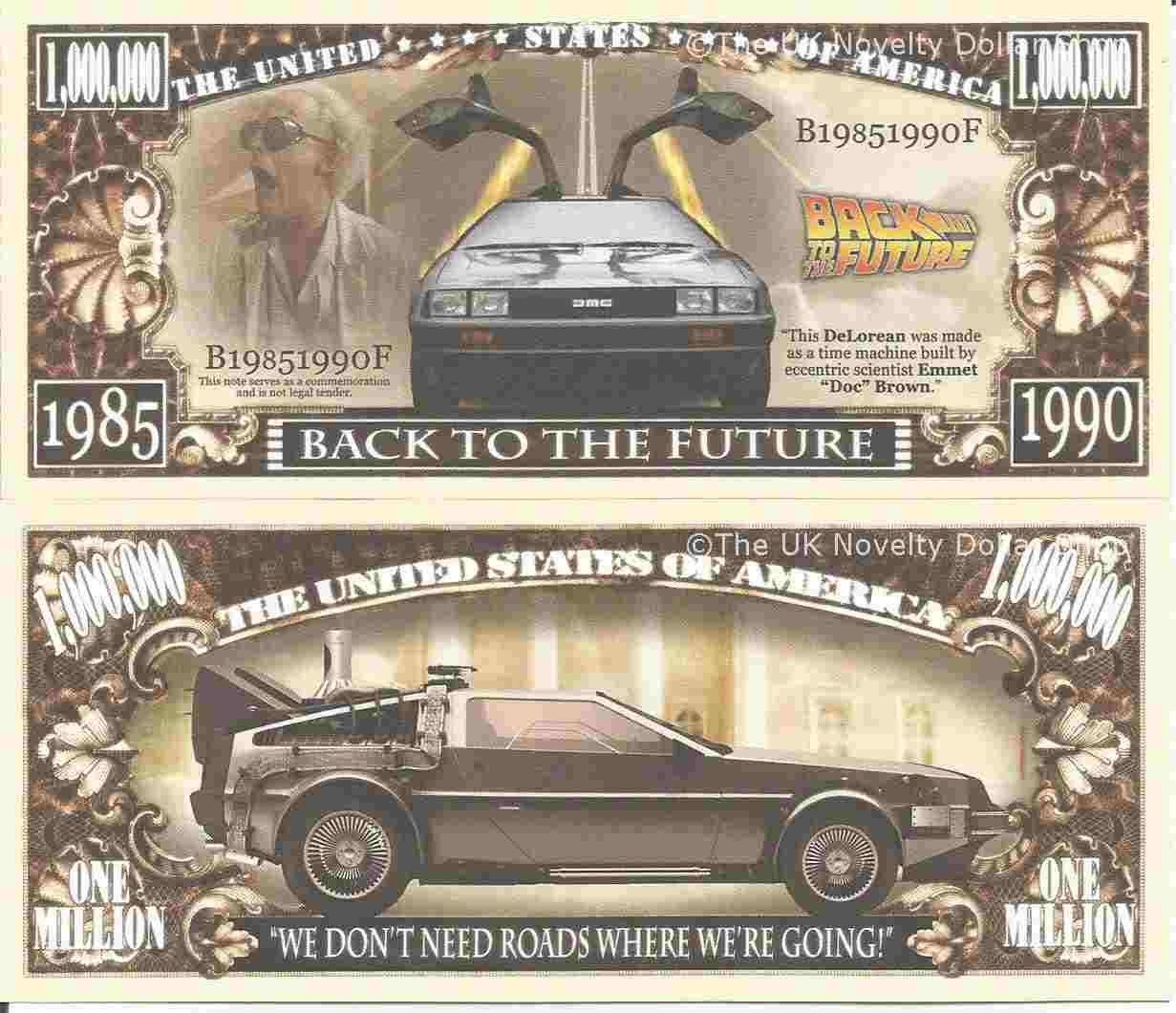Novelty Dollar Back To The Future DeLorean Sports Car Time Machine Million Dollar Bills x 2