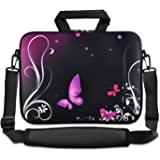 """ChaoDa Purple butterfly 15"""" 15.6 laptop sleeve Shoulder Case Carrying Bag for Apple MacBook Pro 15"""" 15.4""""/Dell inspiron 15 Alienware M15X/ASUS A53 N53 N55 X54/HP dv6/SAMSUNG/Acer/Aspire/LENOVO/Sony vaio sleeve case"""