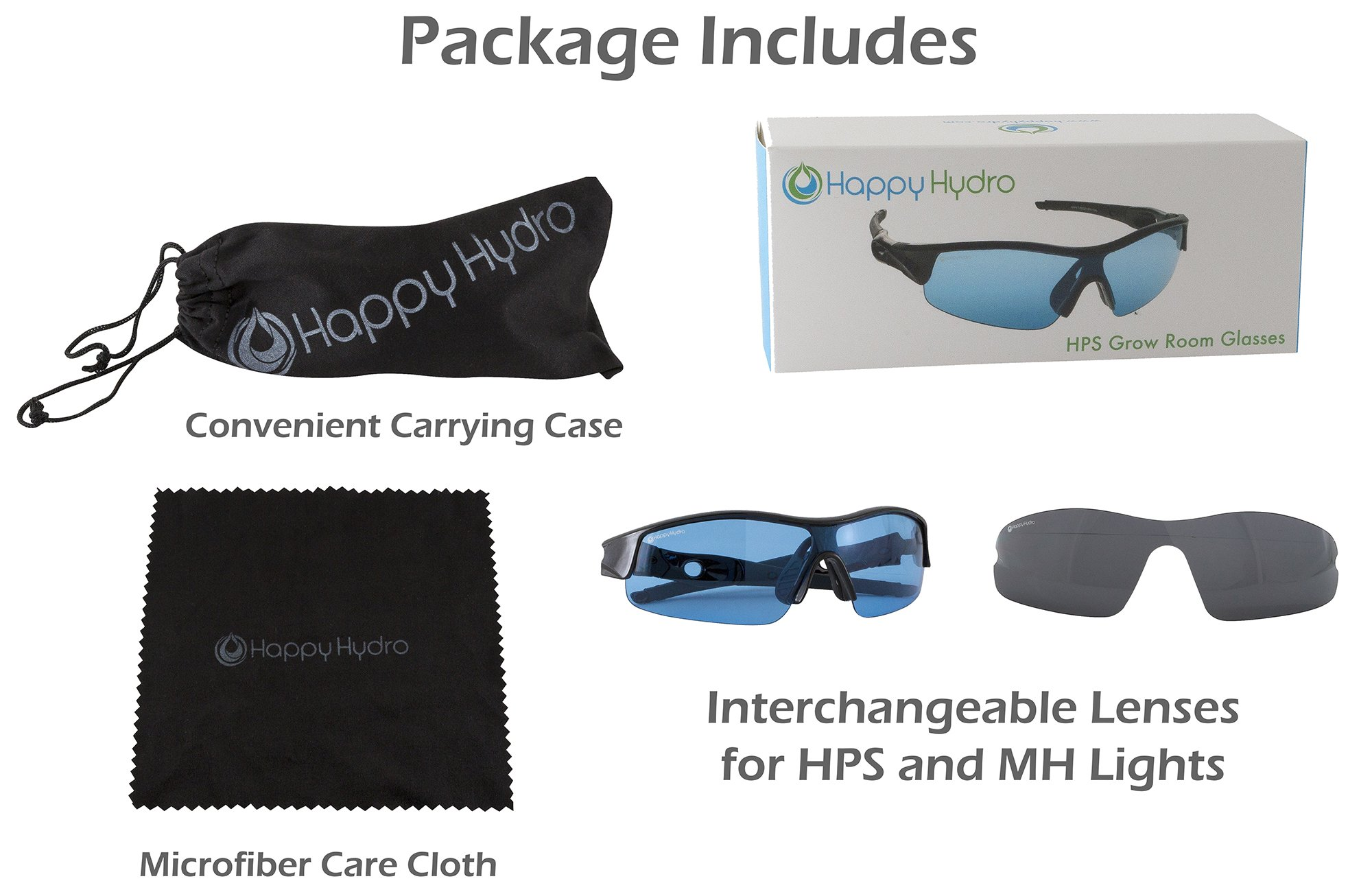 Happy Hydro Grow Room Glasses with Interchangeable Anti-Glare UV Lenses for HPS & MH Lights by Happy Hydro (Image #2)