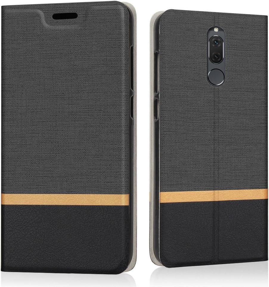 Riffue® Huawei compañero Lite Caso 10, 10 cubierta Huawei compañero Lite, cubierta protectora delgada Modelo retro en Denim Monedero en la película lisa de la PU para Huawei compañero 10 Lite - Negro
